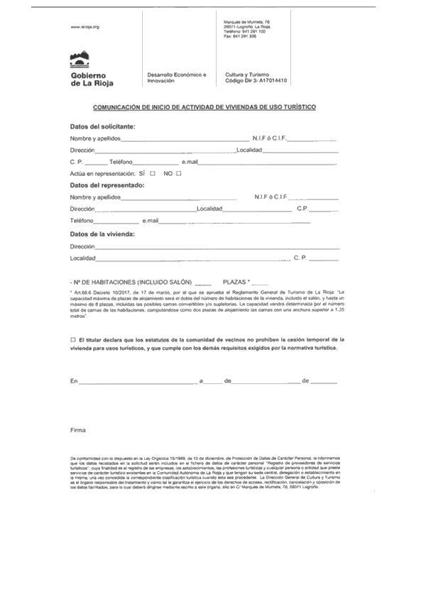 Modelo de «comunicación de inicio de actividad de las viviendas de uso  turístico» del anexo I modificado por el apartado cuarenta y uno del  artículo único ... f8e0e2887ddb