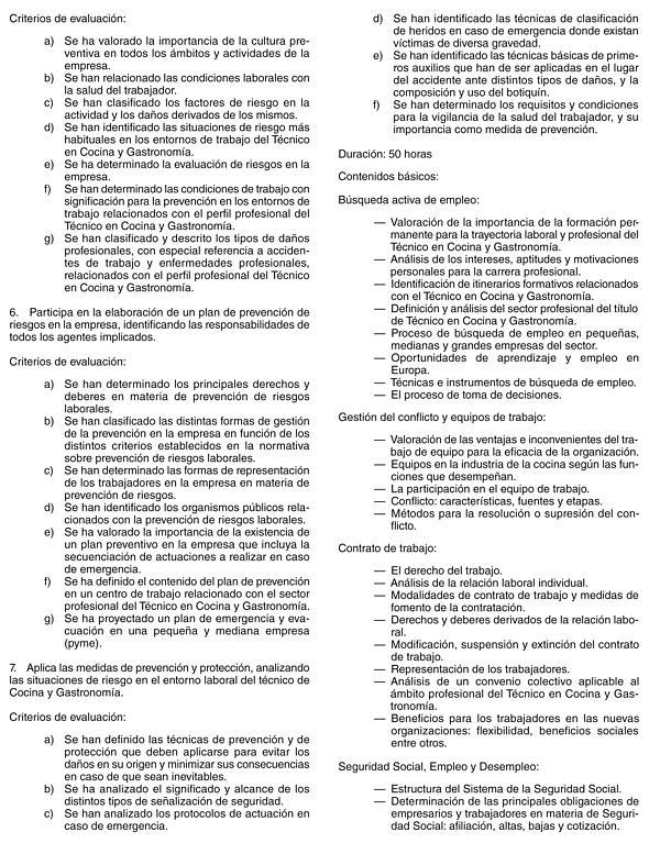 Real decreto 1396 2007 de 29 de octubre por el que se - Tecnico en cocina y gastronomia ...