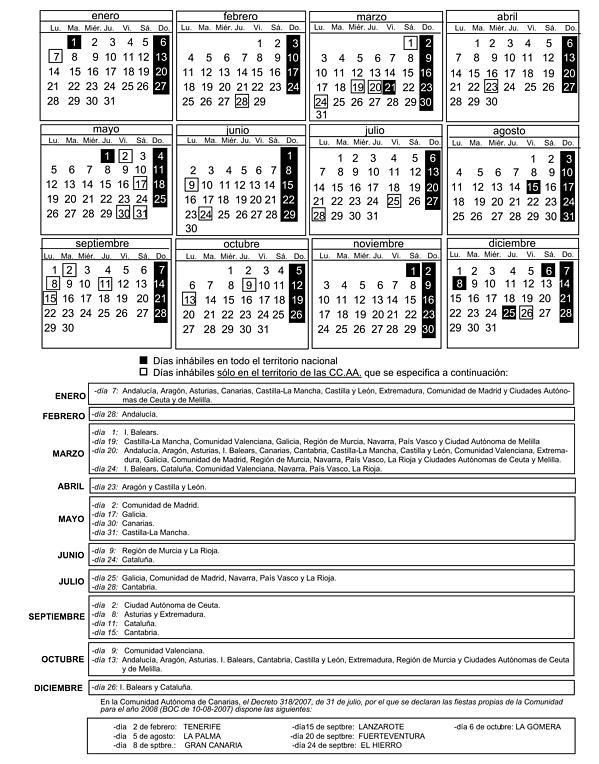 Boe Calendario.Resolucion De 23 De Noviembre De 2007 De La Secretaria General Para