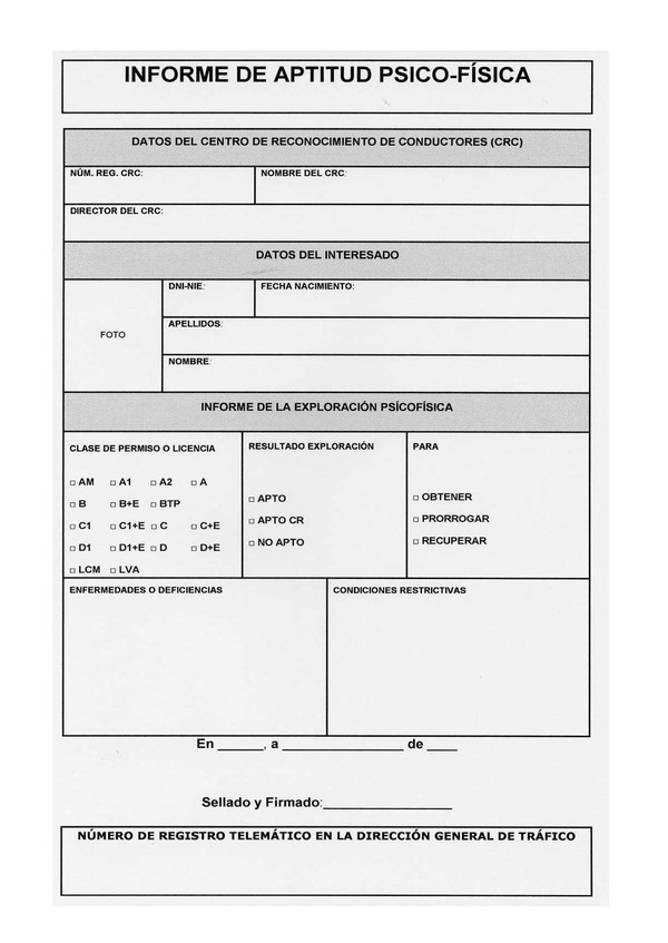 Certificado Aptitud Psicofísica de Aptitud Psicofísica