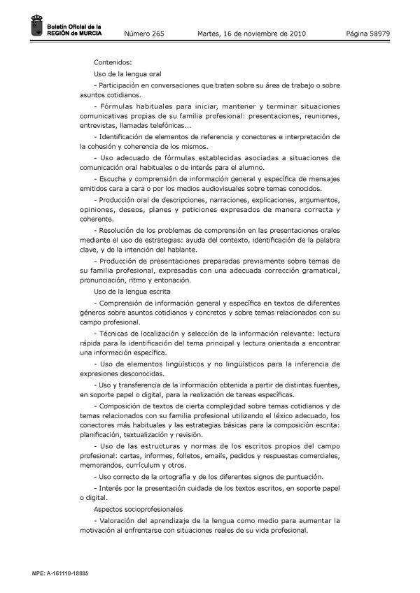 Orden De 5 De Noviembre De 2010 De La Consejería De