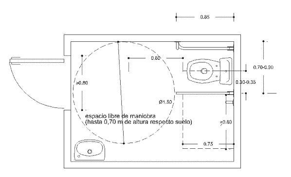 Aseo Adaptado Medidas:Figura 11 Espacio interior a los aseos públicos