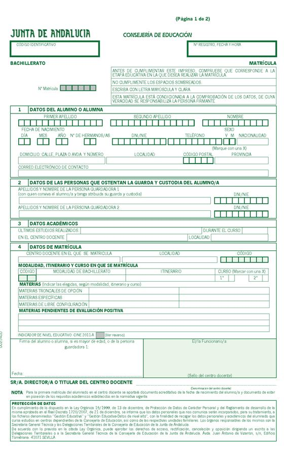 Matricula Grado Superior Andalucia Fp Grado Superior