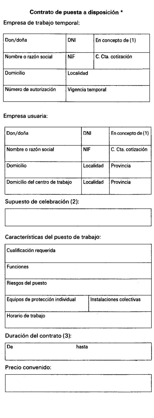 real decreto 4 1995 de 13 de enero por el que se On modelo contrato laboral temporal
