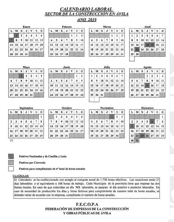 Calendario Laboral De La Construccion 2019.Resolucion De 19 De Diciembre De 2018 De La Oficina Territorial De