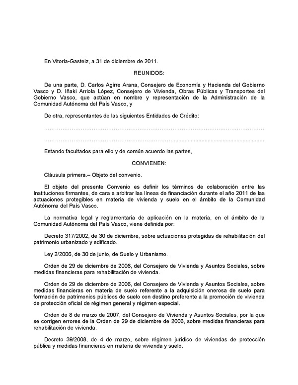 Decreto 268 2011 de 20 de diciembre de colaboracin for Modelo acuerdo extrajudicial clausula suelo